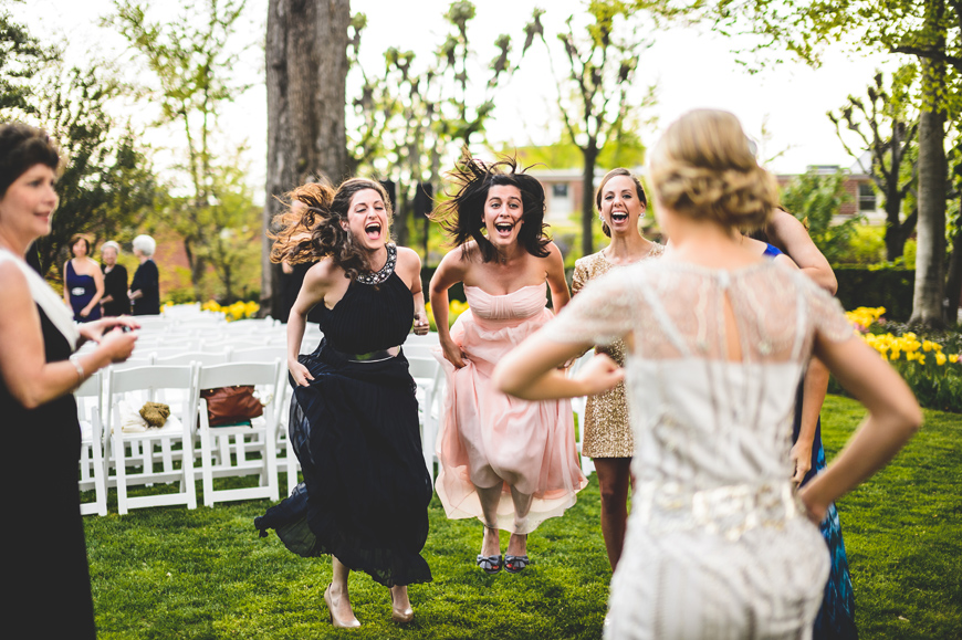 014 wedding bridesmaids jumping for joy