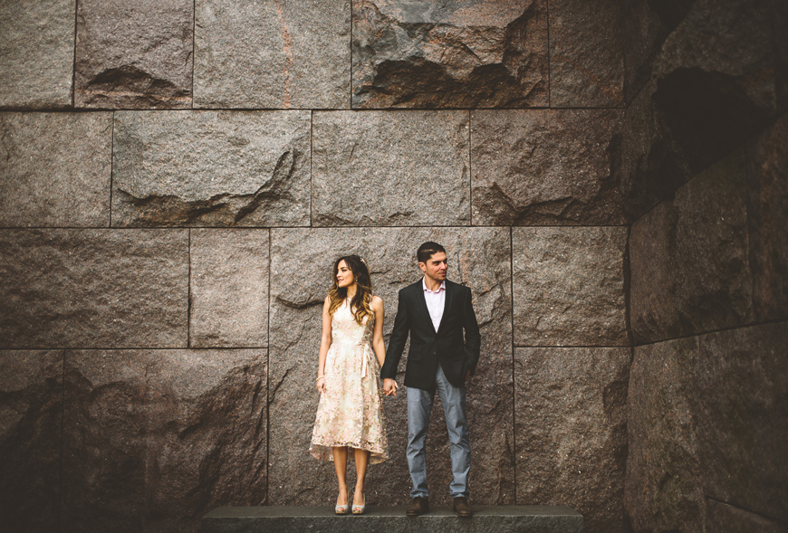 011 engaged couple in beam of light against rock wall richmond wedding photographer.jpg