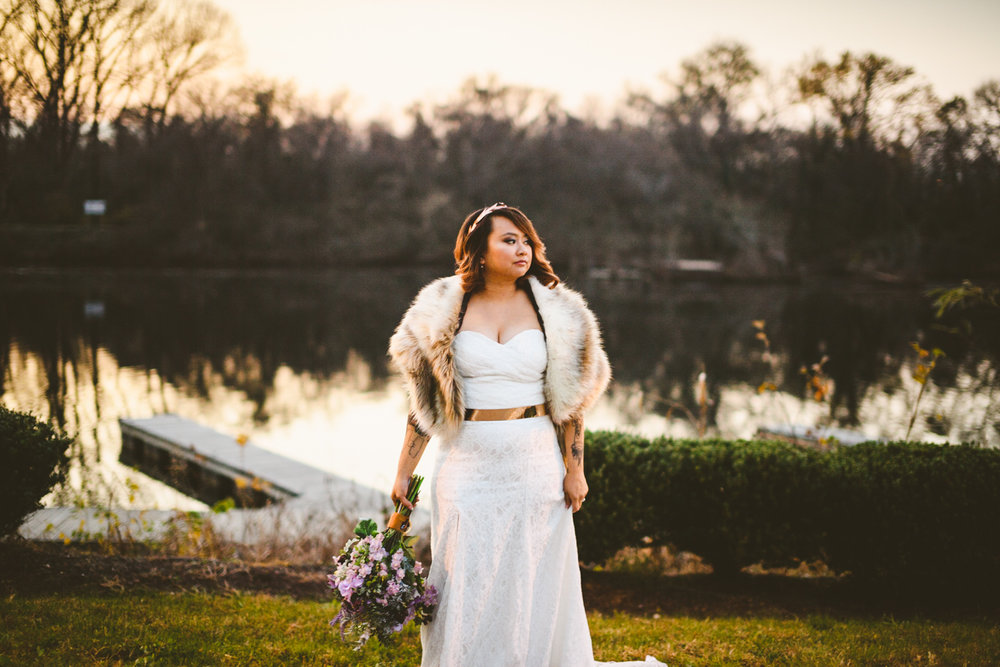 023 - gorgeous bride posing at sunset after her wedding richmond virginia.jpg
