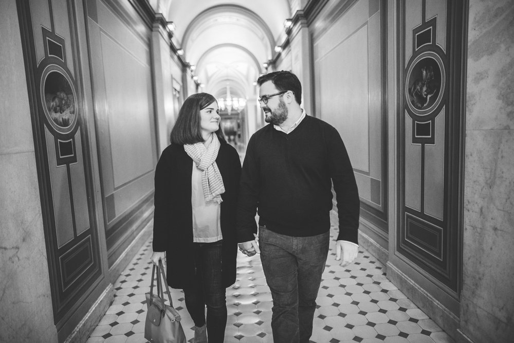 006 - a couple walks the halls of the United States Capitol on their engagement.jpg