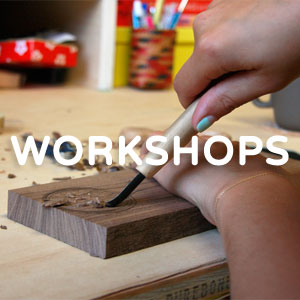 Learn about events and the workshops Melanie teaches such as spoon carving and wood turning!