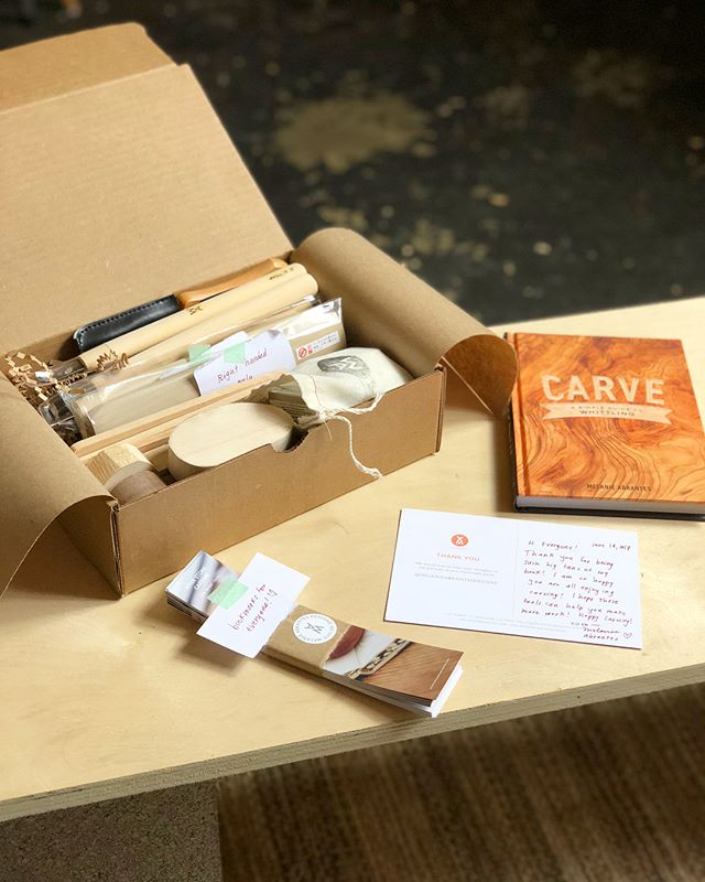 Sending this care package of carving tools to an elementary school in Iceland!! 💌 A teacher reached out to me to share her story and I was too touched not to help out! Thank you @clarksonpotter for sending them books as well!! Excited to hear kids learning from #carvethebook!!! 😆 swipe 👉🏽 to see the original message and one of their projects!! ❤️ #woodworking #womenwoodworkers #bookstagram