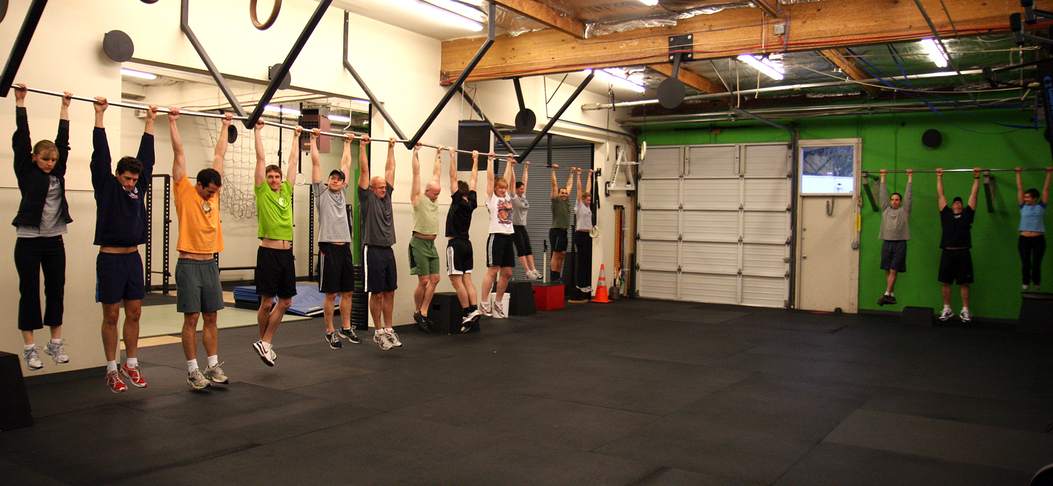 All hanging from the pull-up bar