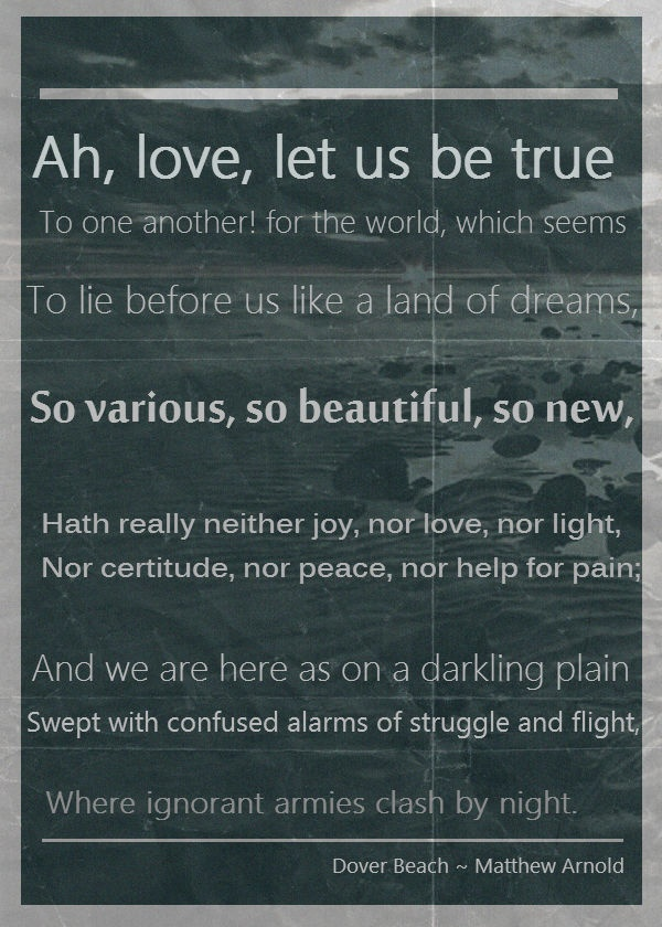 the metaphors of love and sea in the poem dover beach by matthew arnold
