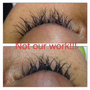 Poorly applied lashes from another salon...painful, clumpy and twisted!