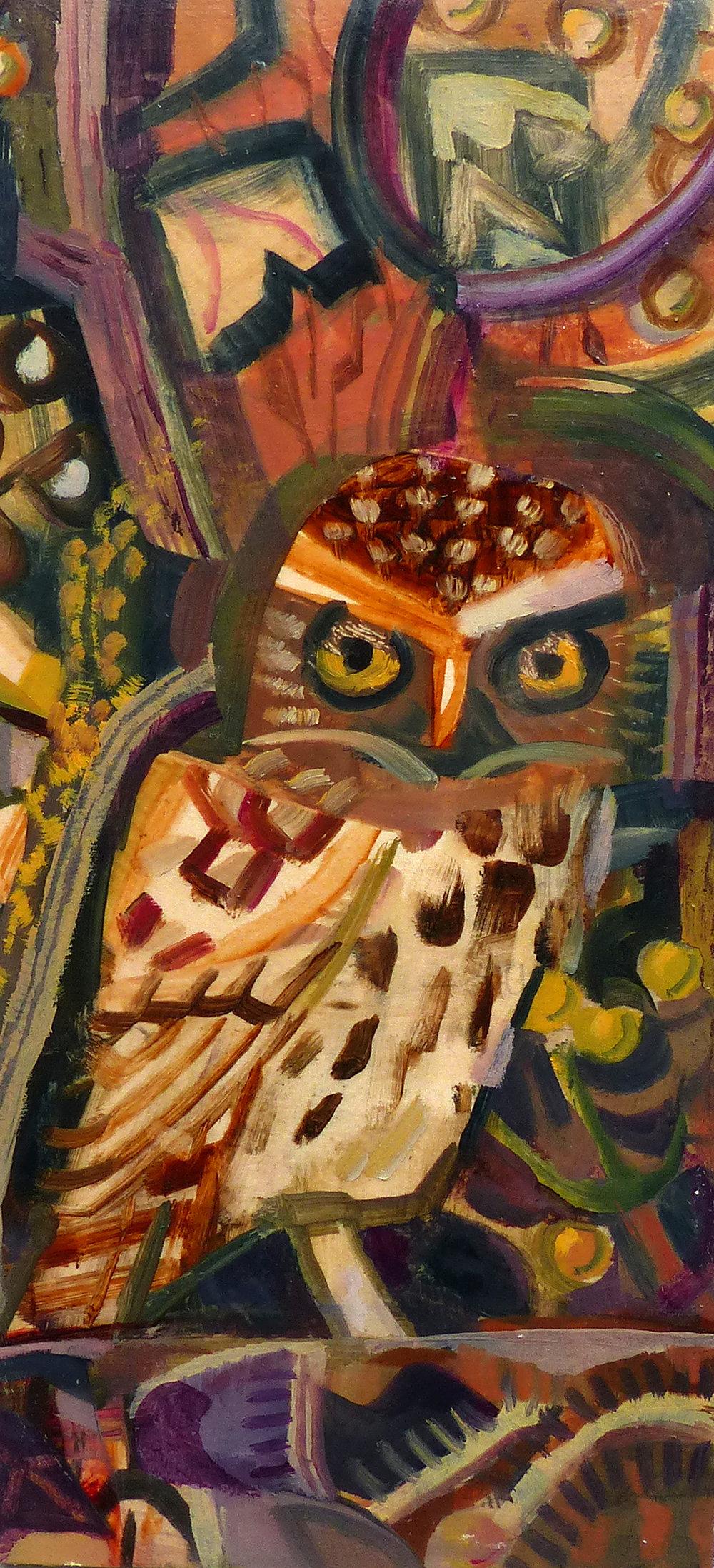 Little Owl, Spixworth.   Oil 48 x 30 Cm Sold
