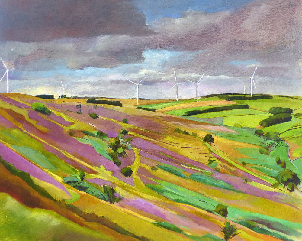 Tow Law Fell - Late Summer.  Oil