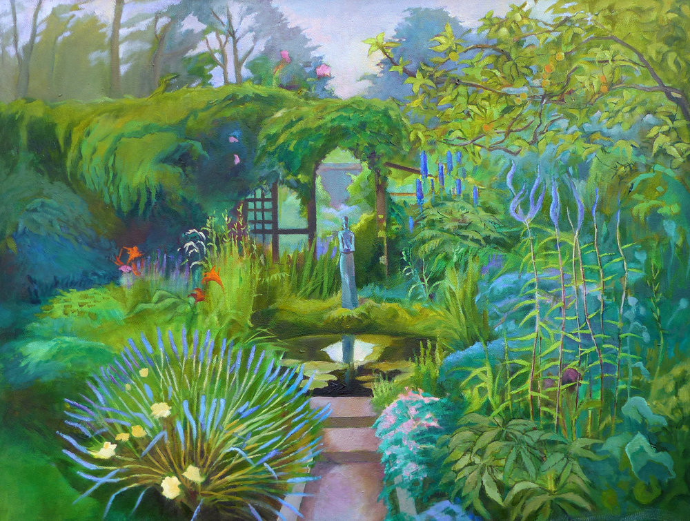 Garden with Alice Palser figure.  Oil.