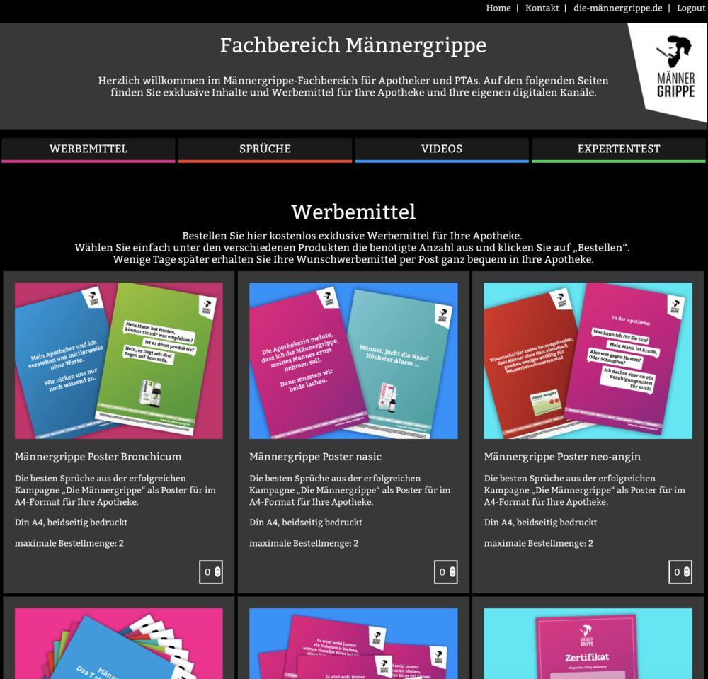 Screenshot Männergrippe-Fachbereich für Apotheker und PTAs