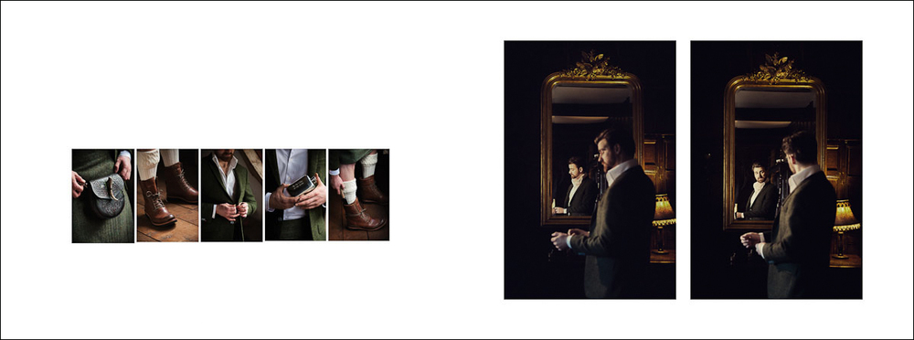 Groom's preparation wedding photography - wedding album layout