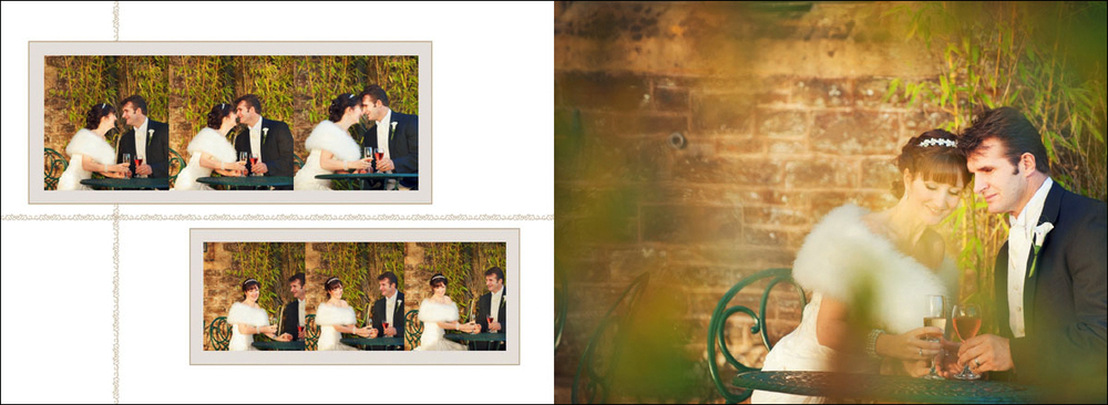 Wedding photograph of the bride and groom drinking champagne on the right and the story of the moment on the left