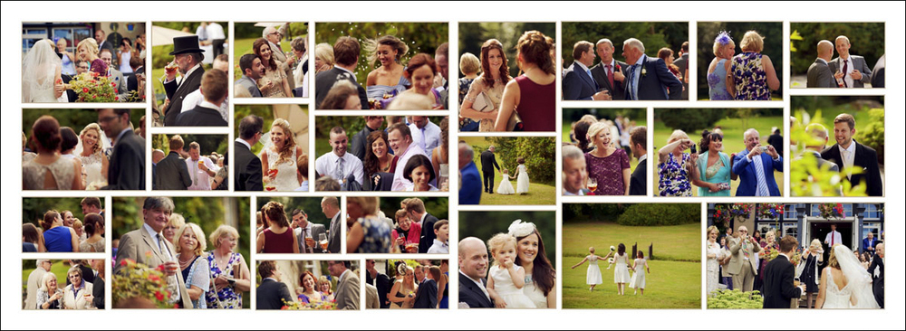 Double page wedding album layout of candid photographs taken at the wedding