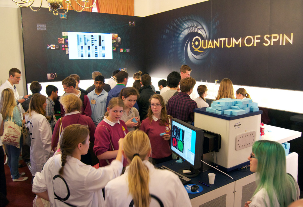 Crowds at our exhibit: the machine in the foreground is a real working MRI scanner.