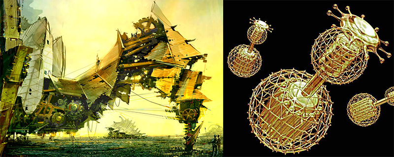 The universal constructor: huge, tiny, or impossible? Left image by Daniel Dociu (tinfoilgames.com), Right image by Mondolithic.com.