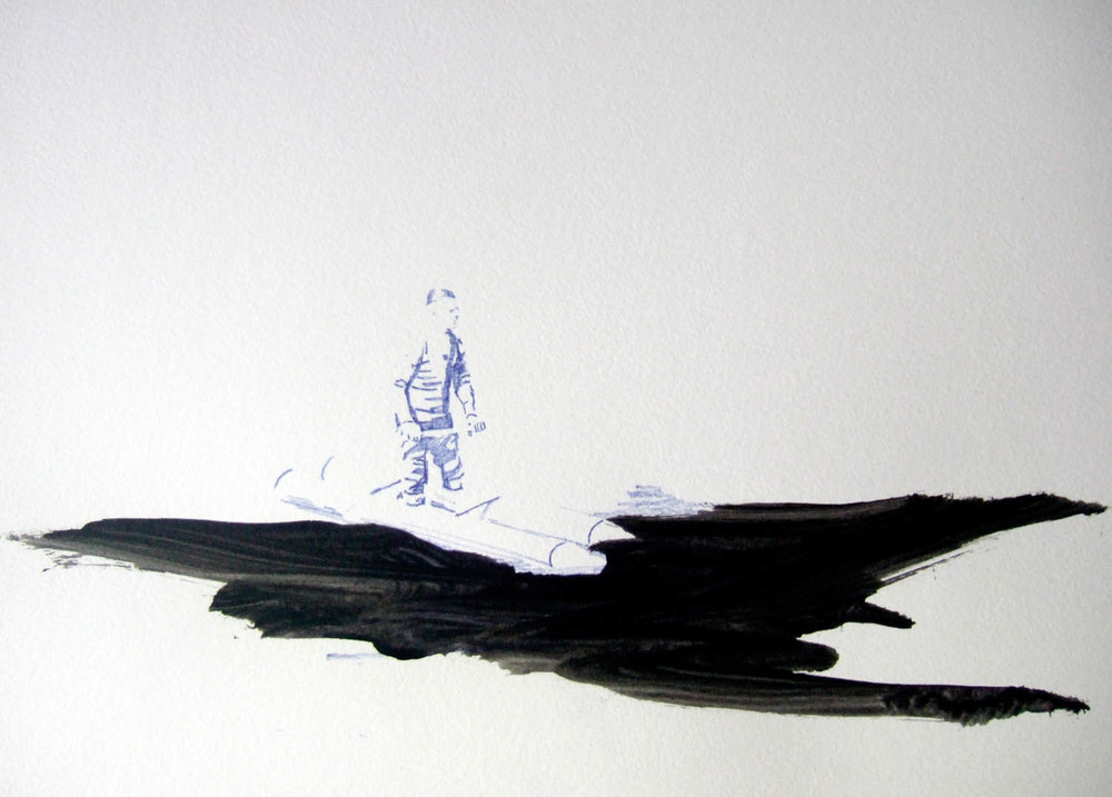 Flight (2010), pen and ink on paper, 297 x 420mm