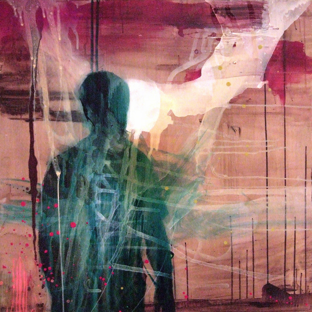 Inside Out (2007), ink, acrylic, oil and resin on canvas, 100 x 100cm