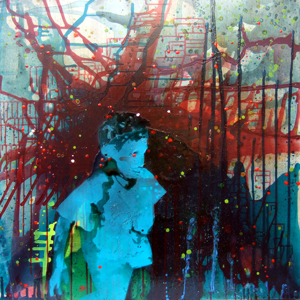Passing By (2007), ink, acrylic, oil and resin on canvas, 100 x 100cm