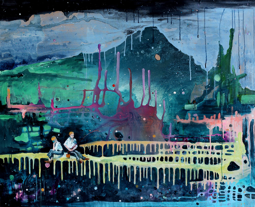 "Kathryn Cowen, ""Little Do They Know"", 2013, acrylic, ink and resin on canvas, 97.5 x 120cm"