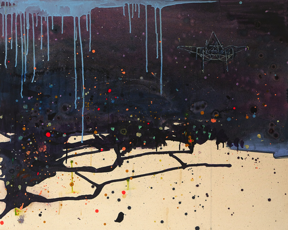 The Faraway Nearby, 2014-15, acrylic, ink, polyurethane resin  and oil medium on canvas, 80 x 100cm