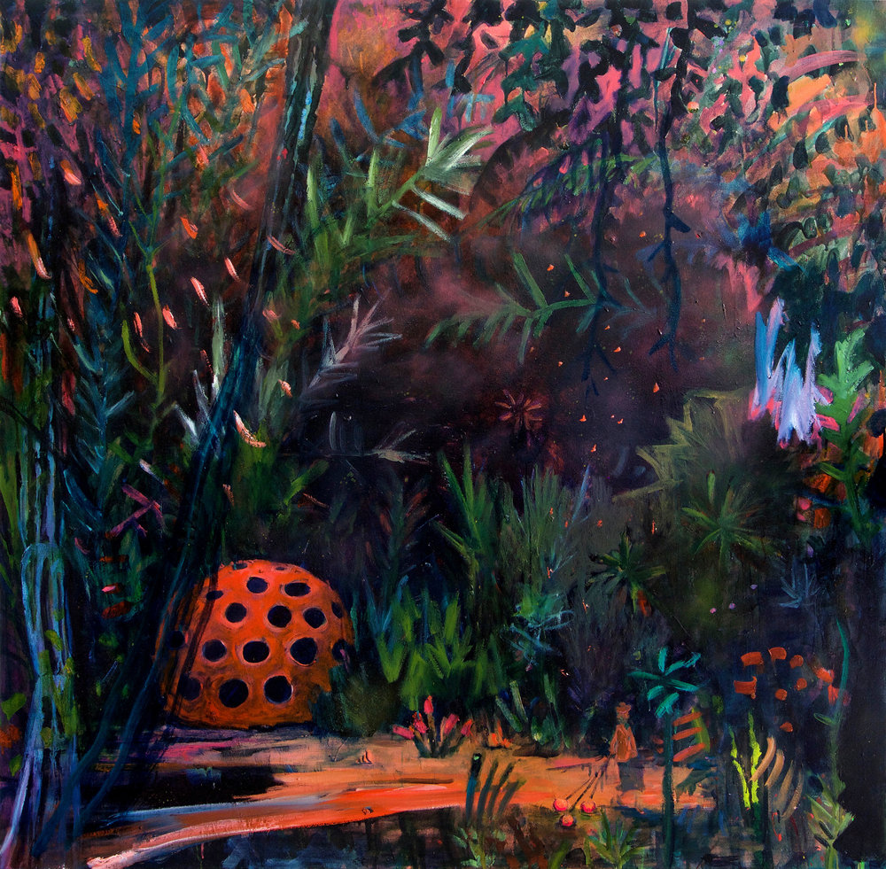 Kathryn Cowen,  Mnemosyne's Garden , 2016-2018, acrylic, oil, aerosol and fluorescent paint on canvas, 167.5 x 167.5cm