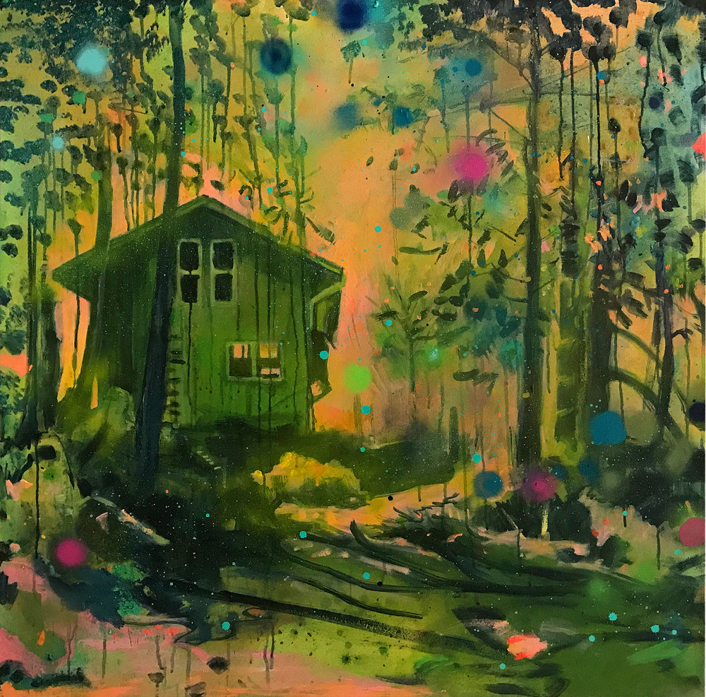 Kathryn Cowen, Refuge, 2016-2018, acrylic, aerosol and oil on canvas, 102 x 102cm