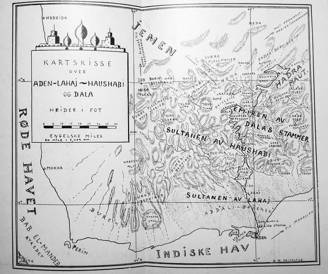Sejersted si kartskisse over området han reiste i. Reiseruta er merka med svarte strekar. Han møter familien med jødar nær Dala ved E-en i «Emiren av Dalas stammer». Kartskissa er henta frå boka.