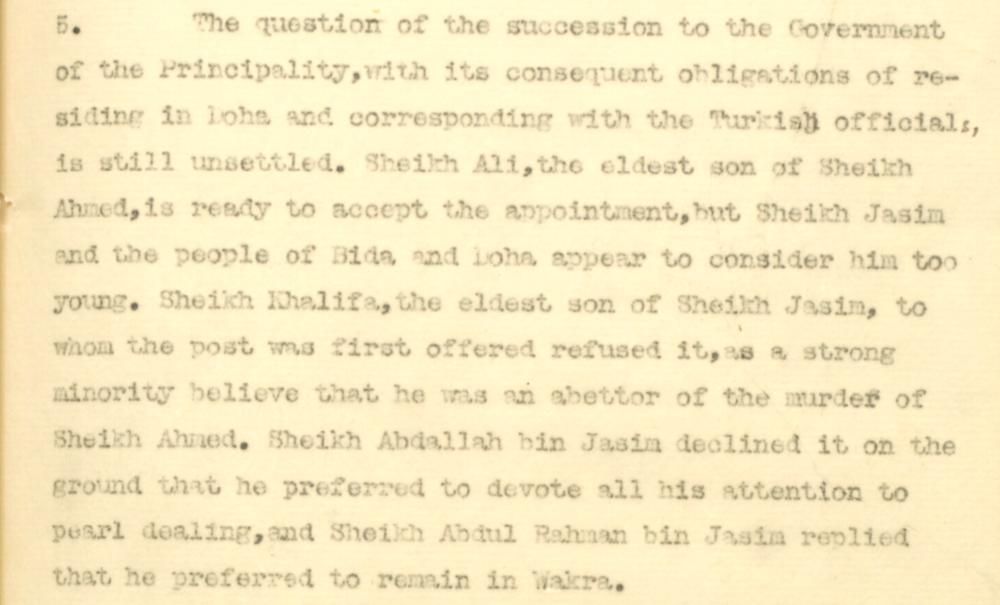 Britisk rapport frå 23. desember 1905 om utveljing av ny kronprins. ( IOR/R/15/2/26 )