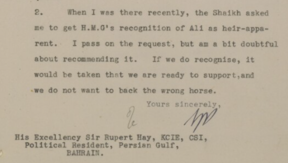 Britisk korrespondanse om arvekrisa i 1948.( IOR/R/15/2/609 )