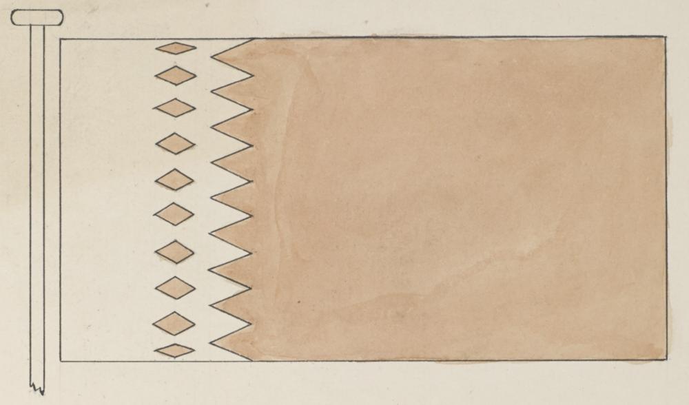 Eitt av fleire flagg brukt av Qatar på 1930-talet.( IOR/R/15/2/1694 )