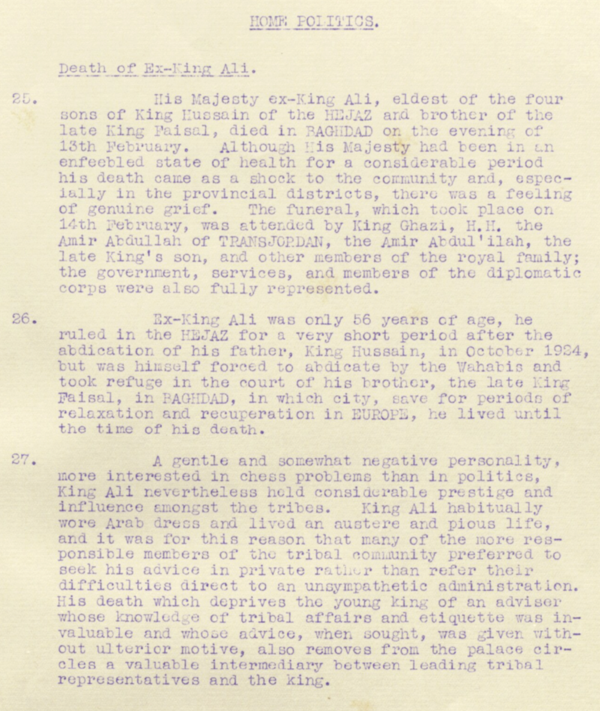 Utdrag frå ein av dei månadlege oppsummeringane av britiske etterretningsrapportar i Irak i 1935. ( IOR/R/15/2/294 )
