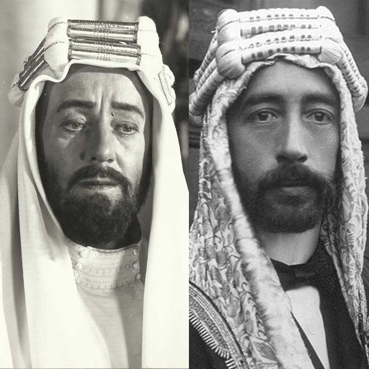 Feisal (t.h.), den meir kjende broren til Ali, vart portrettert av Alec Guiness (t.v.) i  Lawrence of Arabia  (1962) (Foto:  imgur )