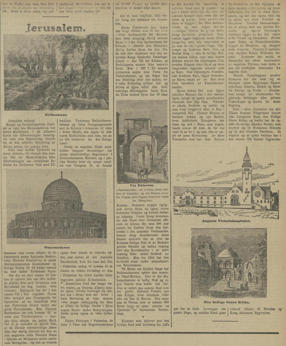 Sak om Jerusalem i Kristiania/Oslo-avisa  Avisen - Upolitisk Nyhets- og Underholdningsblad , 18. desember 1917.