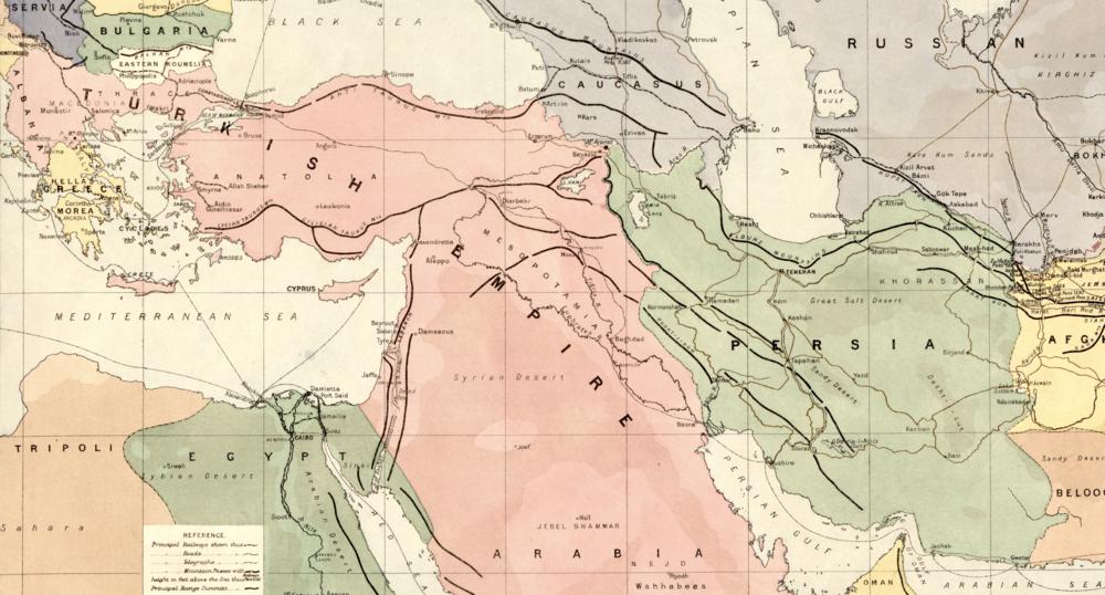 Urmia-sjøen, nordvest i eit grønfarga Persia, er godt synleg på dette britiske kartutsnittet frå 1886. (Library of Congress)