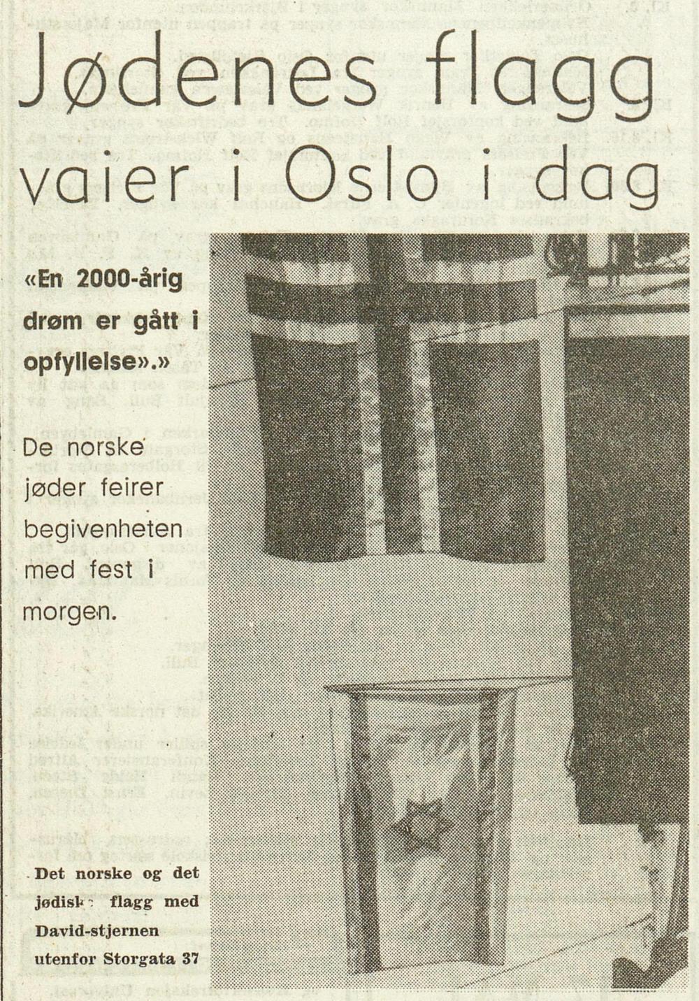 Bilete frå utanfor den norske sionistforeininga, Dagbladet , 15. mai 1948