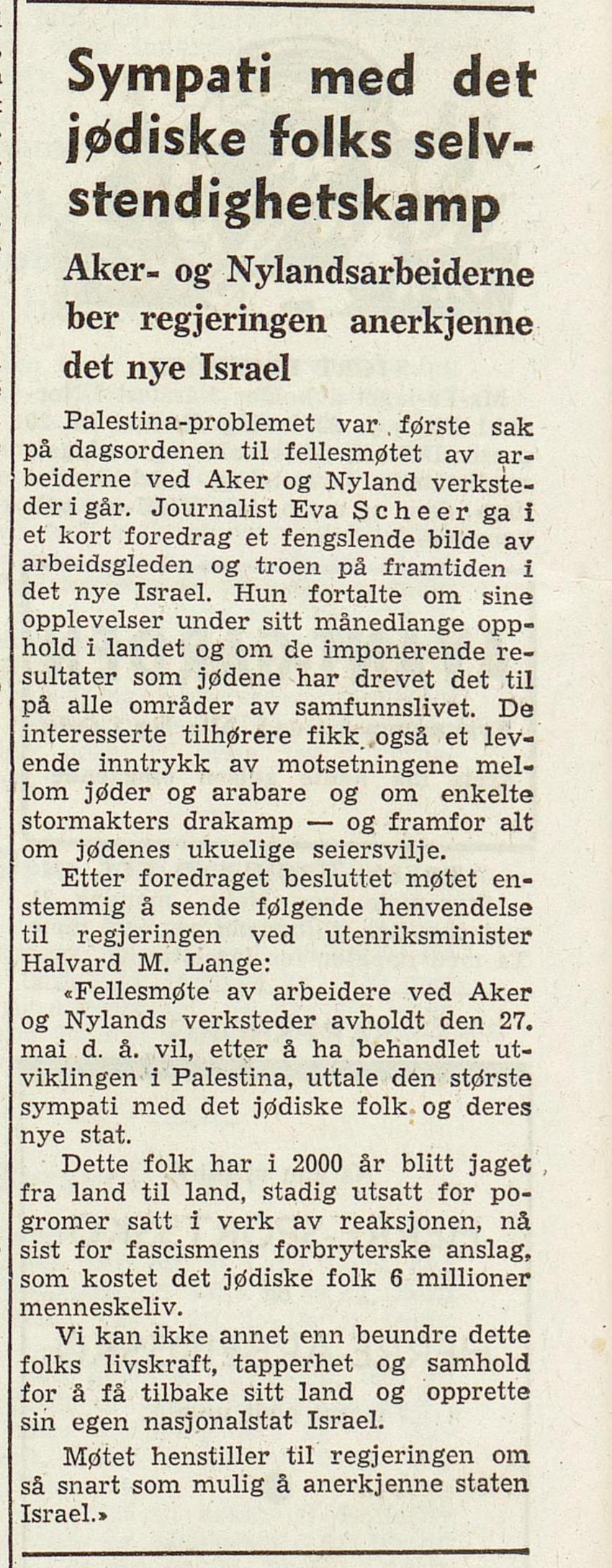 Friheten , 28. mai 1948