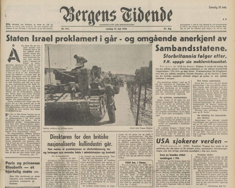 Framsida påBergens Tidende, 15. mai 1948.png