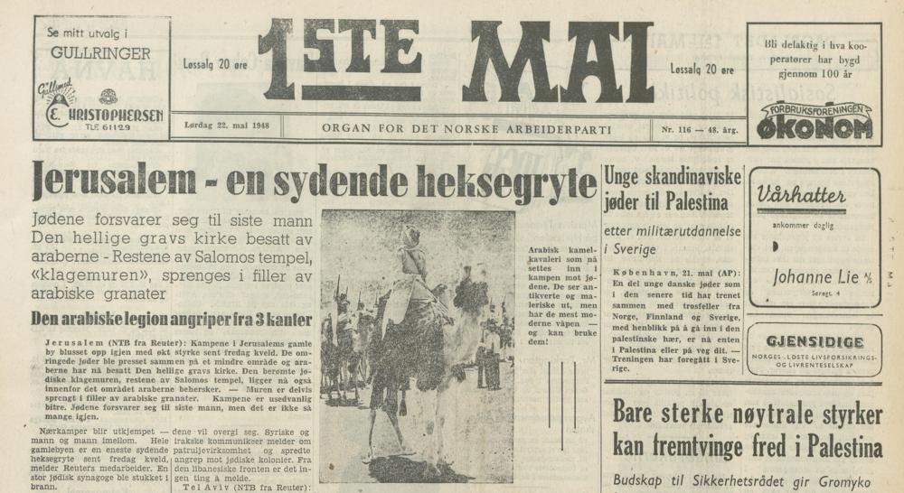 Israel og krigen i Palestina var å finne på mange avisframsider ei lang tid framover. Her frå arbeiderpartiavisa  1ste mai ei veke etter erklæringa 22. mai 1948.