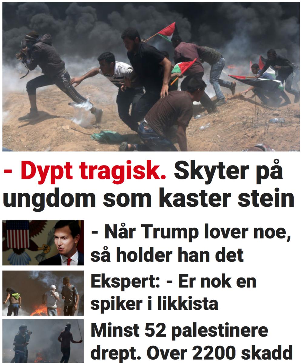 Skjermdump av dagbladet.no, 14. mai 2018