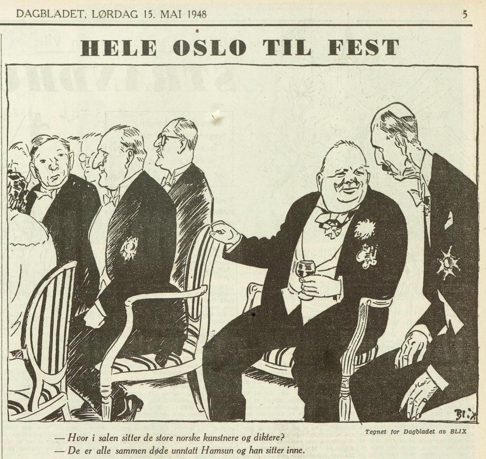 Winston Churchill i samtale med kong Haakon VII, i  Dagbladet , 15. mai 1948.