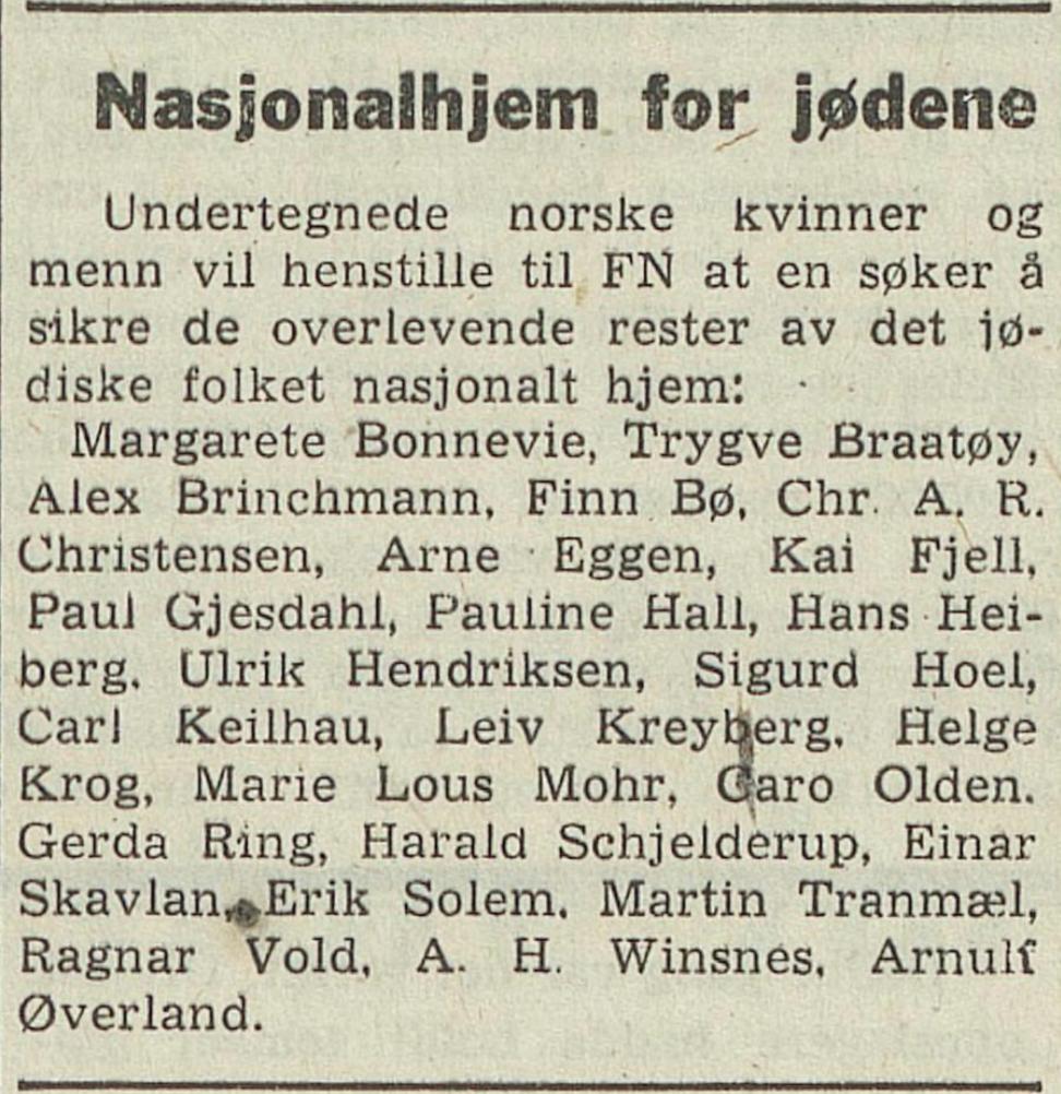 Arbeiderbladet  15. mai 1948, Det same som står i Dagbladet same dag.