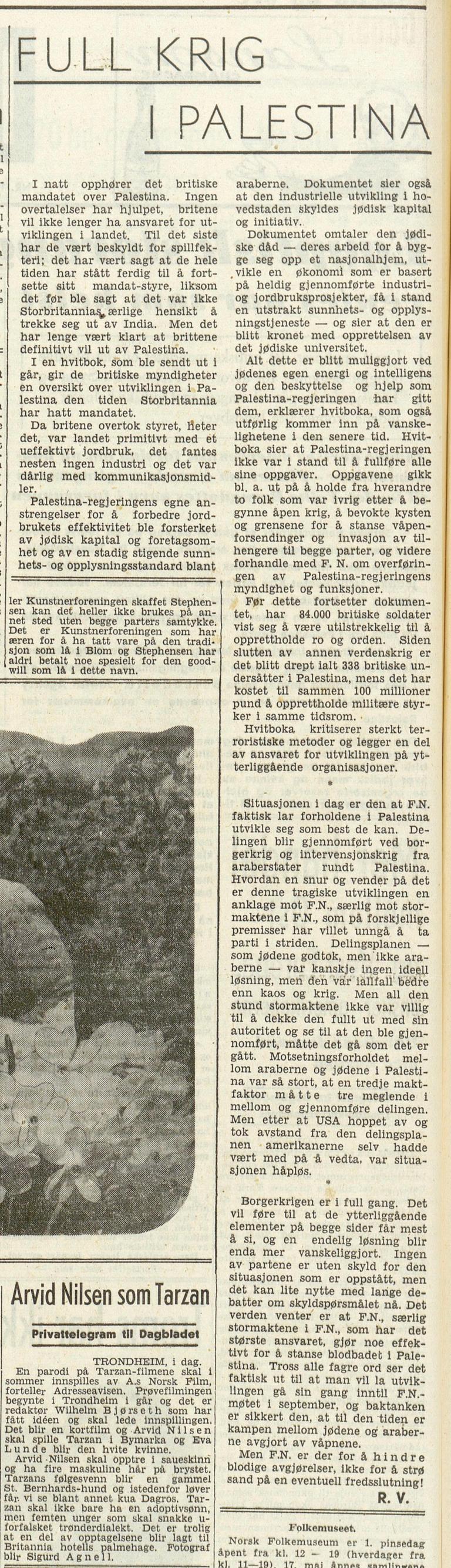 Dagbladet , 14. mai 1948.