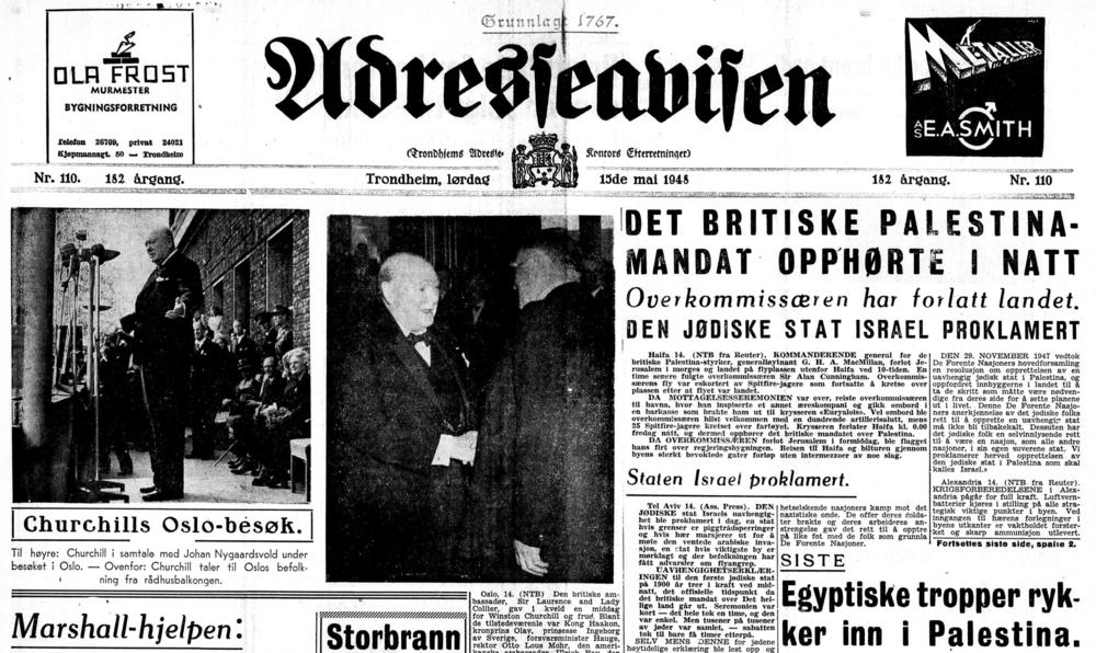 Adresseavisen  fokuserte på Winston Churchill sitt Oslo-besøk og Israel 15. mai 1948