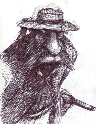 Grumpy Villain: An early sketch of a villain. He's grumpy because he didn't make it into the book.