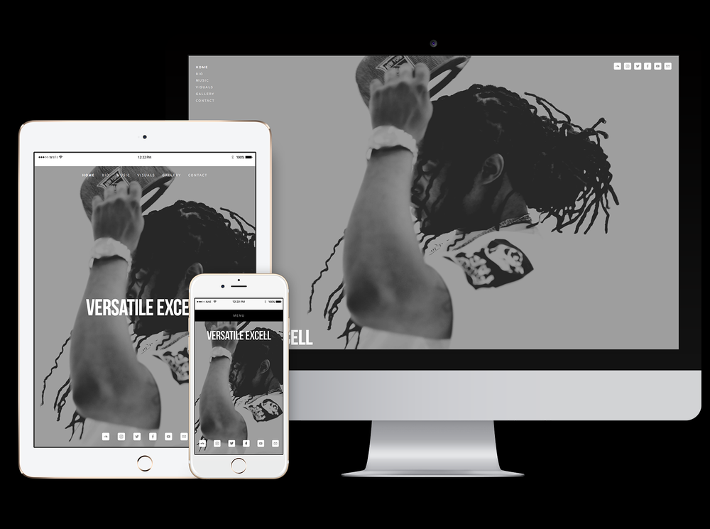 responsive website for recording artist Versatile Excell