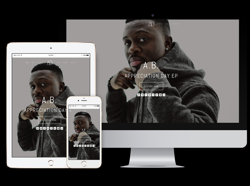 responsive website for recording artist A.B.