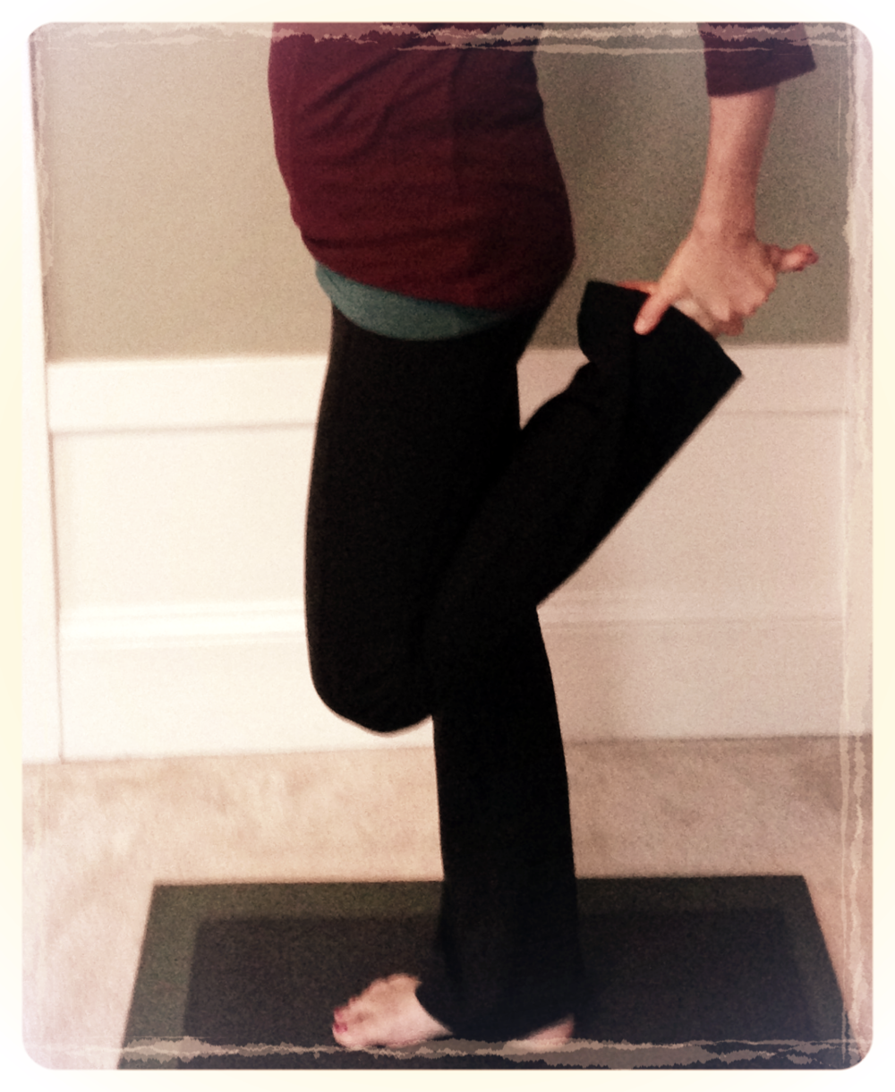 Quad stretches give a chance to work on balance as well as tightness.