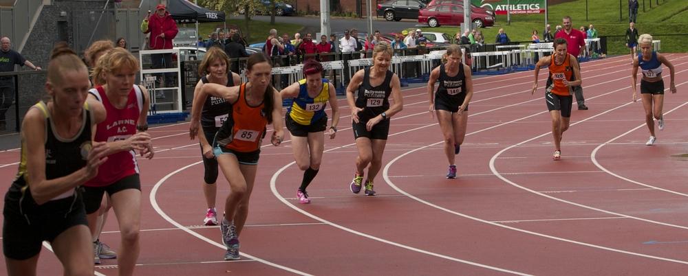 Northern Ireland Masters Athletics Association Women's 800m 2014. Photo by David Smyth.