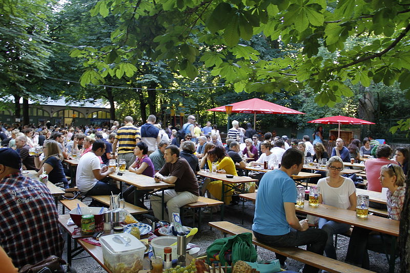 A biergarten in Munich