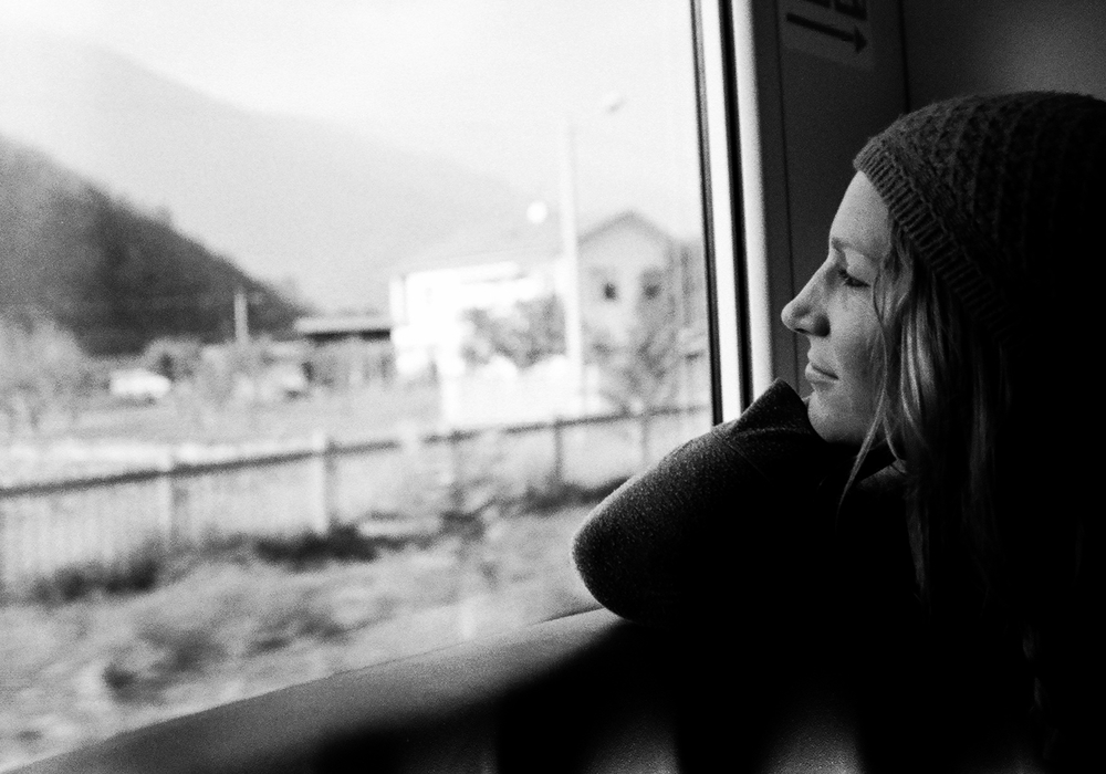 On the train from Rome to Torino. Photo taken with Dad's 1976 AE-1 film camera