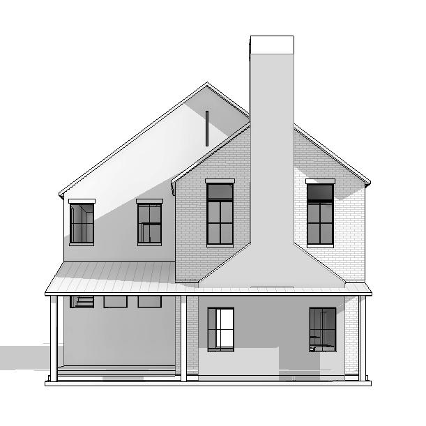 Design rendering: existing single story cottage expanded to provide a second  floor with a total of approximately 3700 SF, comprised of 4 bedrooms + a den/guest room, 5-1/2 baths, 2 living areas with an open concept kitchen/dining/living/den.  General Contractor:  Joel Pittman, The Joel P Pittman Co Inc